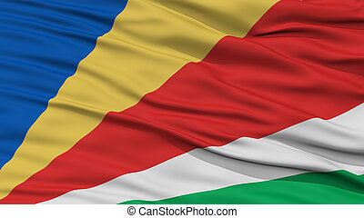 Closeup Seychelles Flag, Waving in the Wind, High Resolution