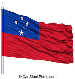 Samoa Flag on Flagpole , Flying in the Wind, Isolated on...