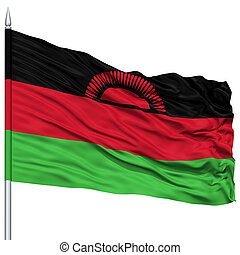 Malawi Flag on Flagpole , Flying in the Wind, Isolated on...