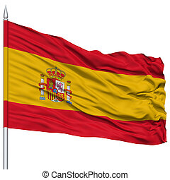 Spain Flag on Flagpole , Flying in the Wind, Isolated on...