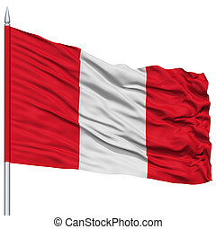 Peru Flag on Flagpole , Flying in the Wind, Isolated on...