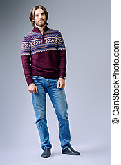 model in pullover - Handsome man wearing winter pullover....