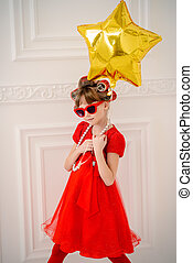 ready for birthday - Portrait of a pretty little girl with...