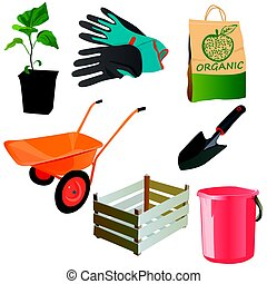 set with garden tools
