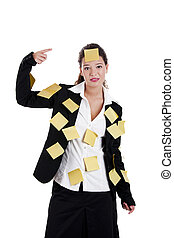 Forgotten businessmoman - Businesswoman with yellow pos-its,...