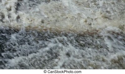Waterfall raging stream with sound