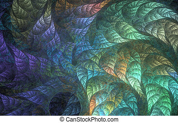 Rainbow foliage whirlwind - An abstract computer generated...