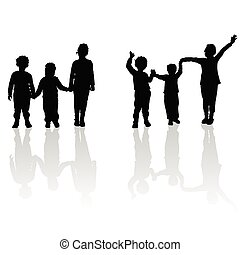 children holding hands black silhouette