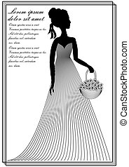 Lady with flower basket, monochrome line art drawing in...