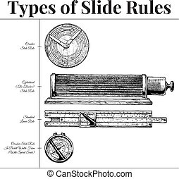 Types of slide rules - Vector hand drawn illustration of...