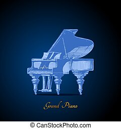 illustration of Grand Piano - Vector hand drawn illustration...