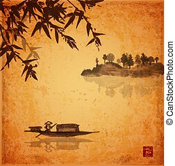 Bamboo, fishing boat and island with trees in fog on vintage...