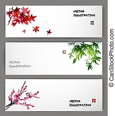 Three banners with maple, bamboo and sakura - Three banners...