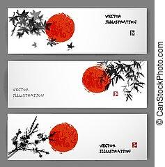 Three banners with sun, maple, bamboo and sakura - Three...