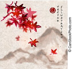 Red Japanese maple leaves and Fujiyama mountain on vintage...