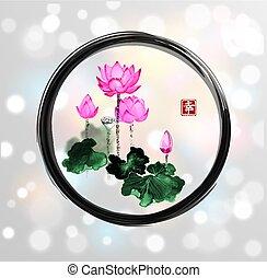 Lotus flowers in black enso zen circle on white glowing...