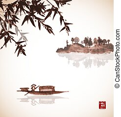 Bamboo, fishing boat and island with trees in fog in vintage...