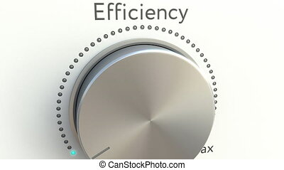 Rotating knob with efficiency inscription. Conceptual 4K...