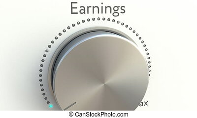 Rotating knob with earnings inscription. Conceptual 4K clip...