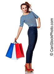 bolsas, compras de mujer, alegre, plano de fondo, moderno,...