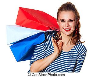 bolsas, compras de mujer, comprador, elegante, blanco, feliz