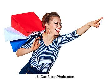 bolsas, compras de mujer, señalar, algo, elegante, blanco