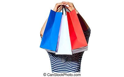 bolsas, compras, fashion-monger, joven, tenencia, blanco
