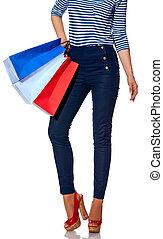 bolsas, compras de mujer, moderno, primer plano, blanco
