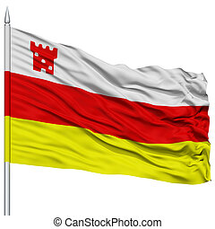 Santa Barbara City Flag on Flagpole, USA