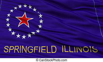 Closeup Springfield Flag, Capital of Illinois State, Flying...