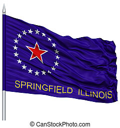 Springfield Flag on Flagpole, Waving on White Background -...