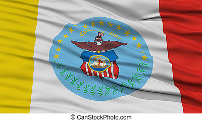 Closeup Columbus Flag, Capital of Ohio State, Flying in the...