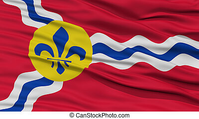 Closeup of St. Louis City Flag, Waving in the Wind, Missouri...