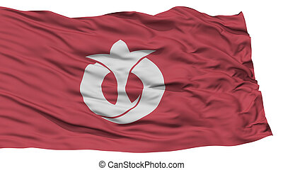 Isolated Aichi Japan Prefecture Flag, Waving on White...