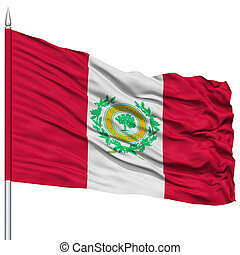 Raleigh Flag on Flagpole, Waving on White Background -...