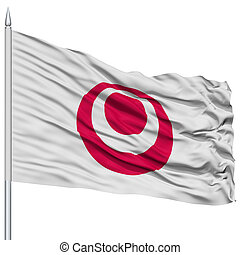Isolated Okinawa Japan Prefecture Flag on Flagpole, Flying...