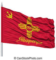 Albuquerque City Flag on Flagpole, USA - Albuquerque City...