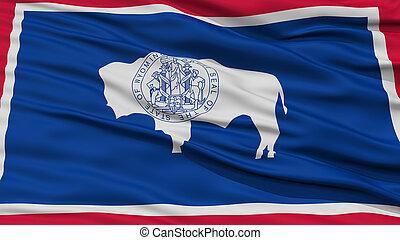 Closeup Wyoming Flag, USA state