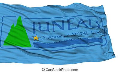 Isolated Juneau Flag, Waving on White Background - Isolated...