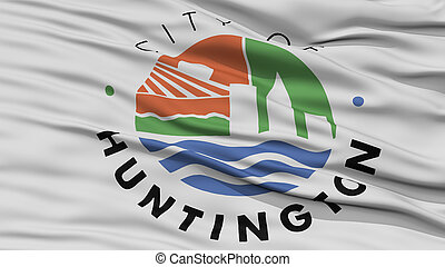Closeup of Huntington City Flag, Waving in the Wind, West...