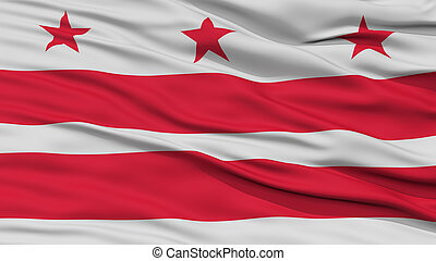 Closeup of Washington DC City Flag, Waving in the Wind,...