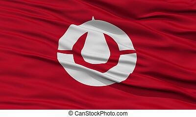 Closeup Kochi Japan Prefecture Flag, Waving in the Wind,...
