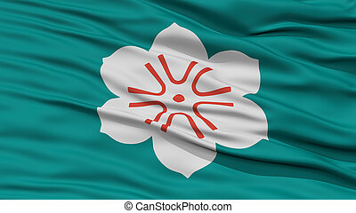 Closeup Saga Japan Prefecture Flag, Waving in the Wind, High...