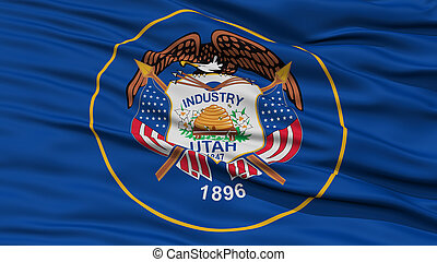 Closeup Utah Flag, USA state - Closeup Utah Flag on...