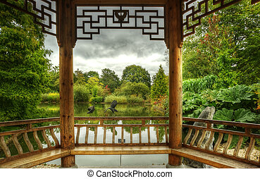 Superbly, detalhado, pagode, luxuriante, verde, jardins