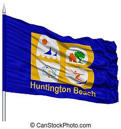 Huntington Beach City Flag on Flagpole, USA - Huntington...