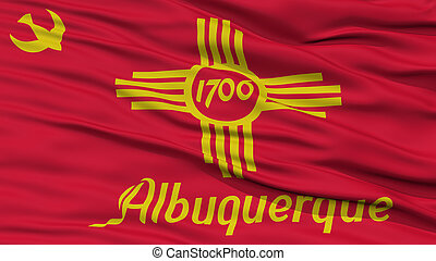 Closeup of Albuquerque City Flag, Waving in the Wind, New...