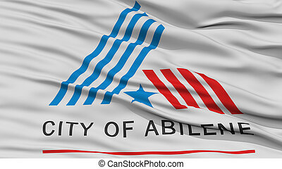 Closeup of Abilene City Flag, Waving in the Wind, Texas...