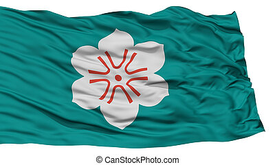 Isolated Saga Japan Prefecture Flag, Waving on White...