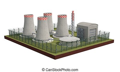 Fence security object nuclear power plant with power of...